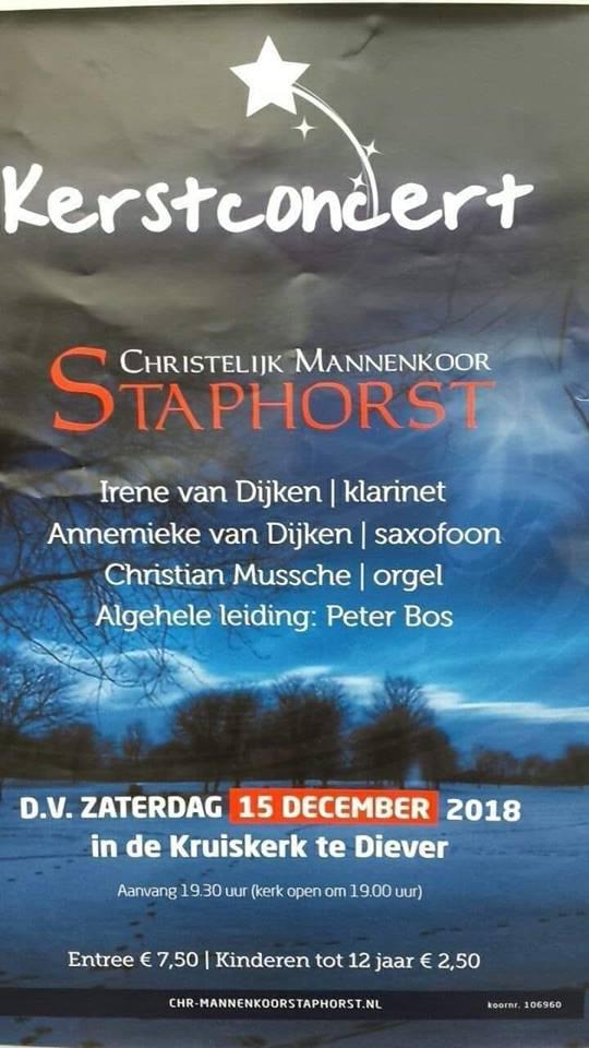 Kerstconcert zaterdag 15 december