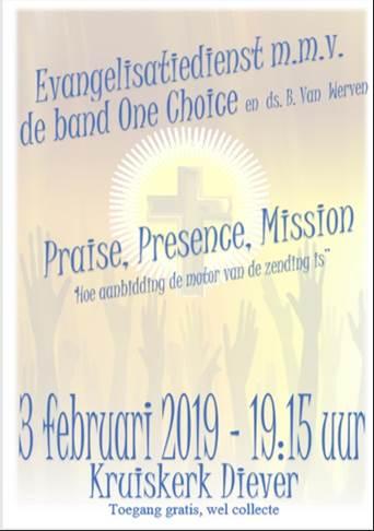 Evangelisatiedienst 3 februari m.m.v. de band One Choice en Ds. B. van Werven