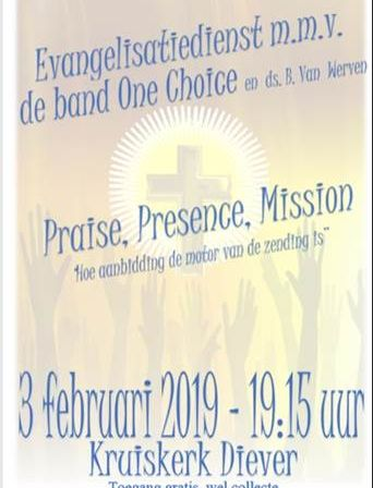 Evangelisatiedienst 3 februari m.m.v. de band One Choice en Ds. B. van Werven